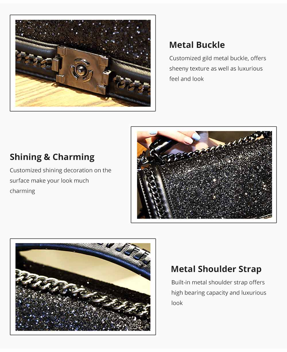 Luxurious Shining Women's Shoulder Bag for Dating & Party, Elegant Bling Handbag with Removable Shoulder Strap Crossbody Bag 8