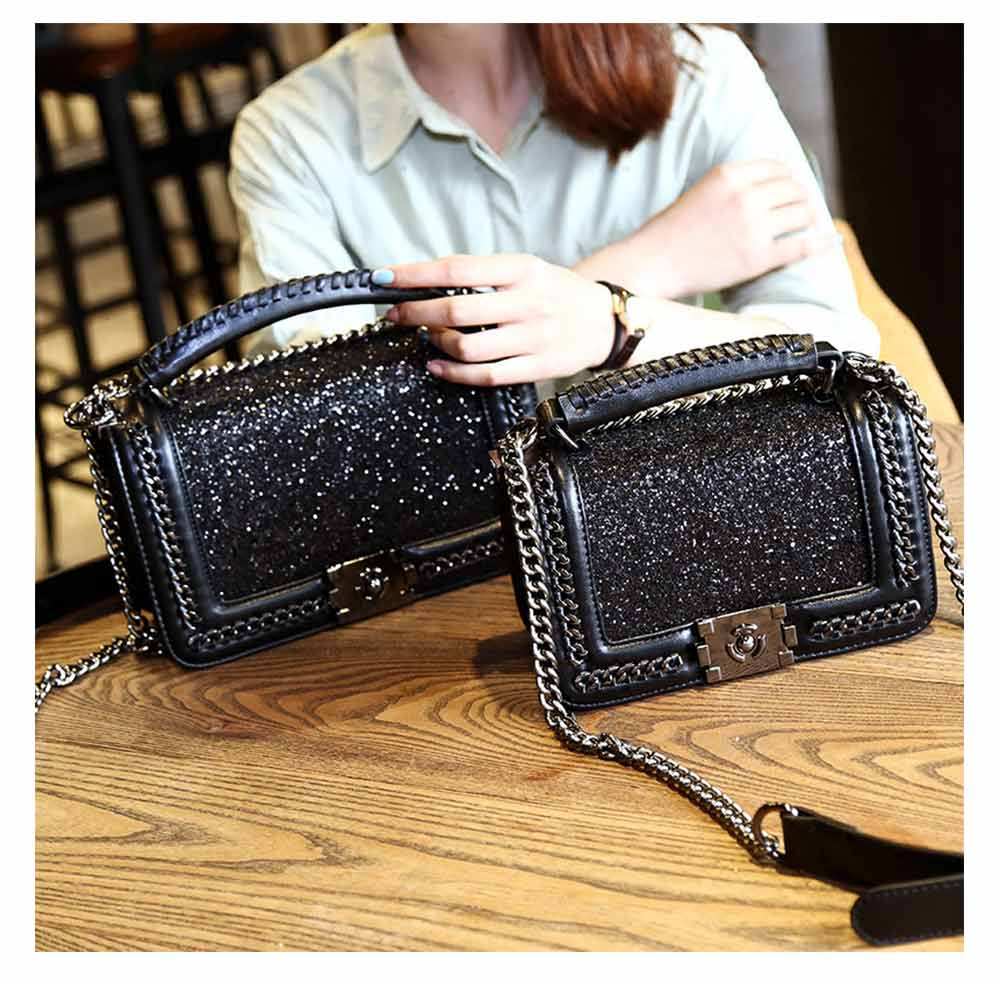 Luxurious Shining Women's Shoulder Bag for Dating & Party, Elegant Bling Handbag with Removable Shoulder Strap Crossbody Bag 10