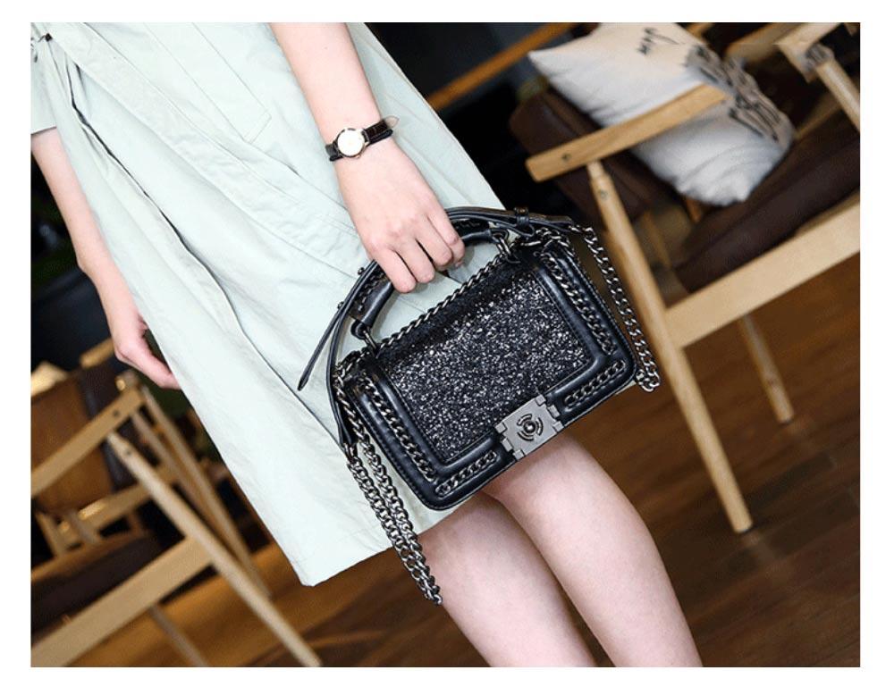 Elegant Bling Handbag with Removable Shoulder Strap Crossbody Bag