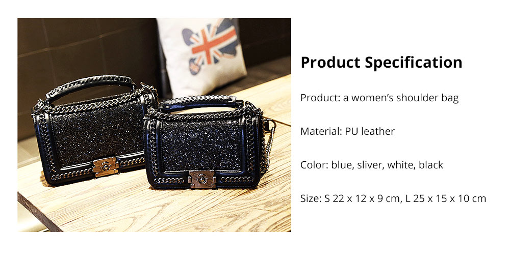 Luxurious Shining Women's Shoulder Bag for Dating & Party, Elegant Bling Handbag with Removable Shoulder Strap Crossbody Bag 13