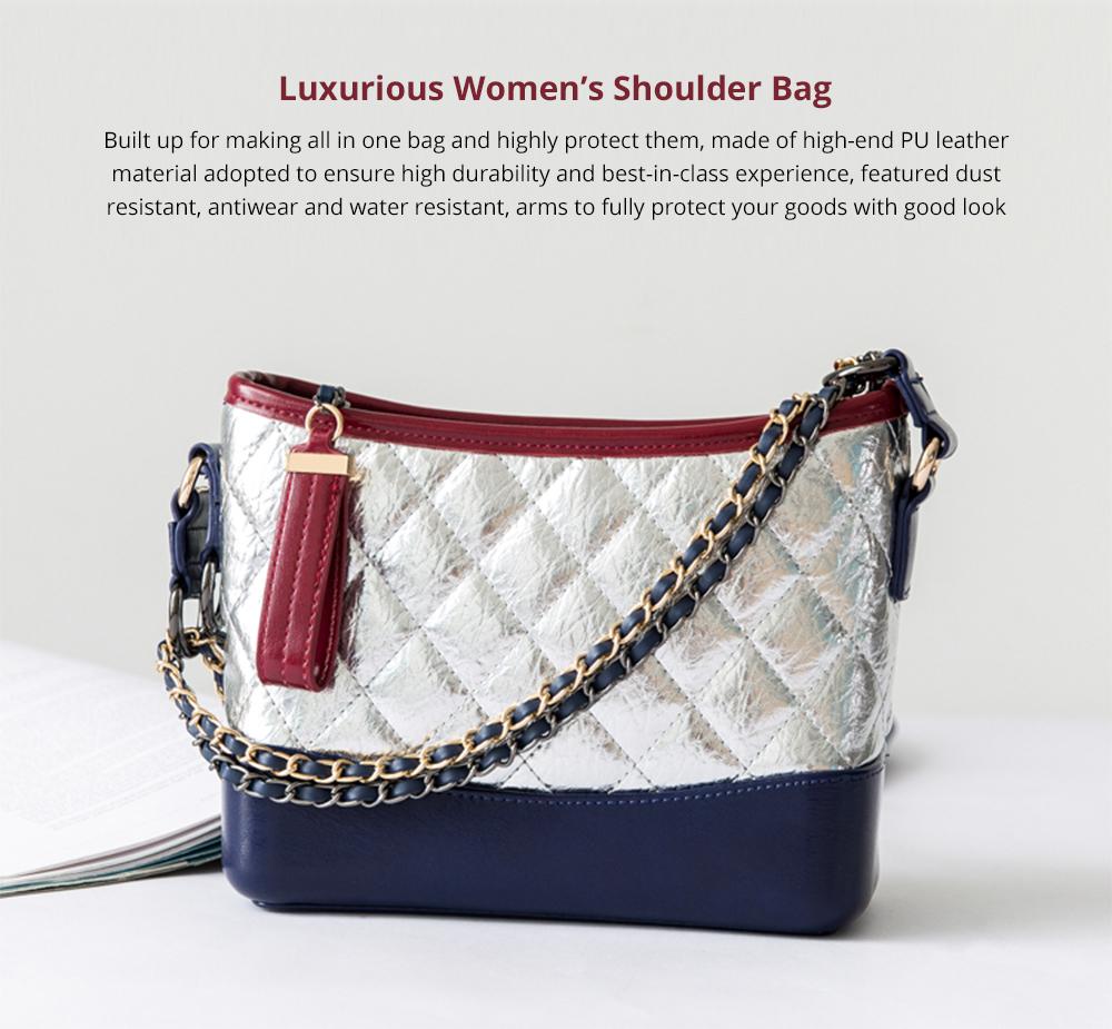 Luxurious Ling Plaid Leather Handbag Women's Party Shoulder Bag, Premium Sleek Leather Crossbody Bag with Adjustable Metal Shoulder Strap 6