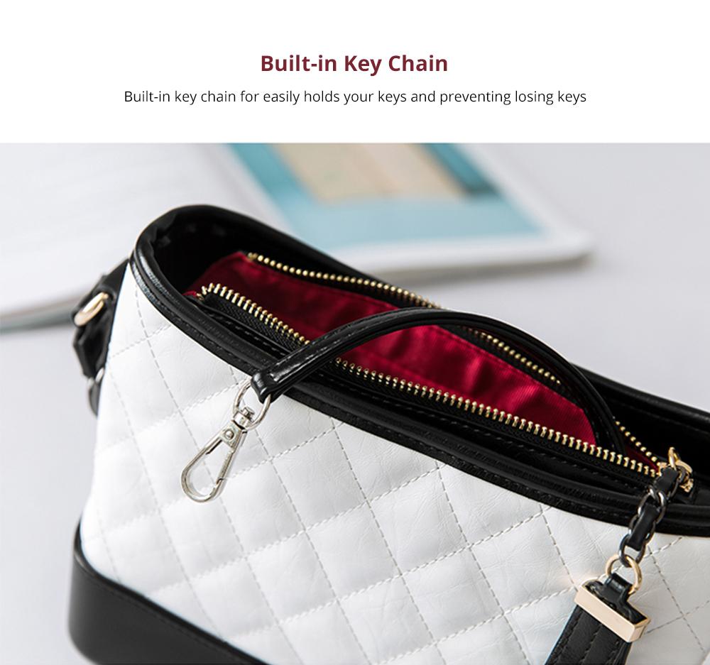 Luxurious Ling Plaid Leather Handbag Women's Party Shoulder Bag, Premium Sleek Leather Crossbody Bag with Adjustable Metal Shoulder Strap 10