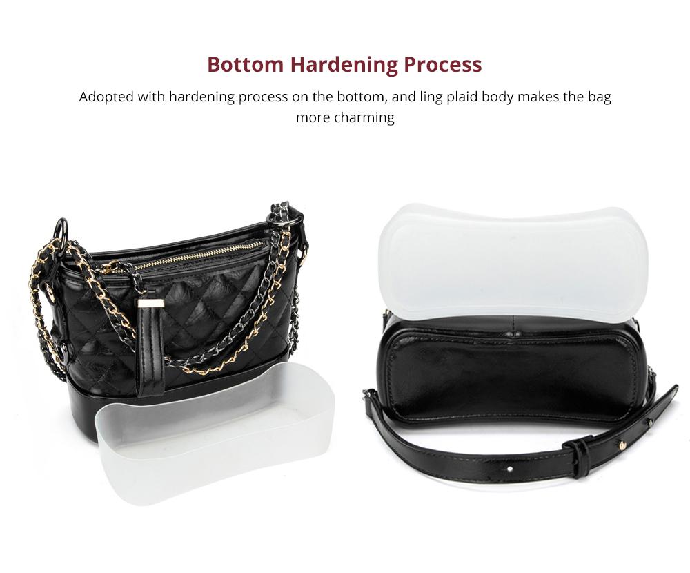 Luxurious Ling Plaid Leather Handbag Women's Party Shoulder Bag, Premium Sleek Leather Crossbody Bag with Adjustable Metal Shoulder Strap 11