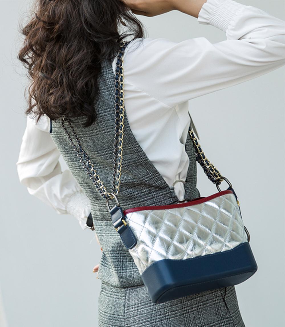 Luxurious Ling Plaid Leather Handbag Women's Party Shoulder Bag, Premium Sleek Leather Crossbody Bag with Adjustable Metal Shoulder Strap 12