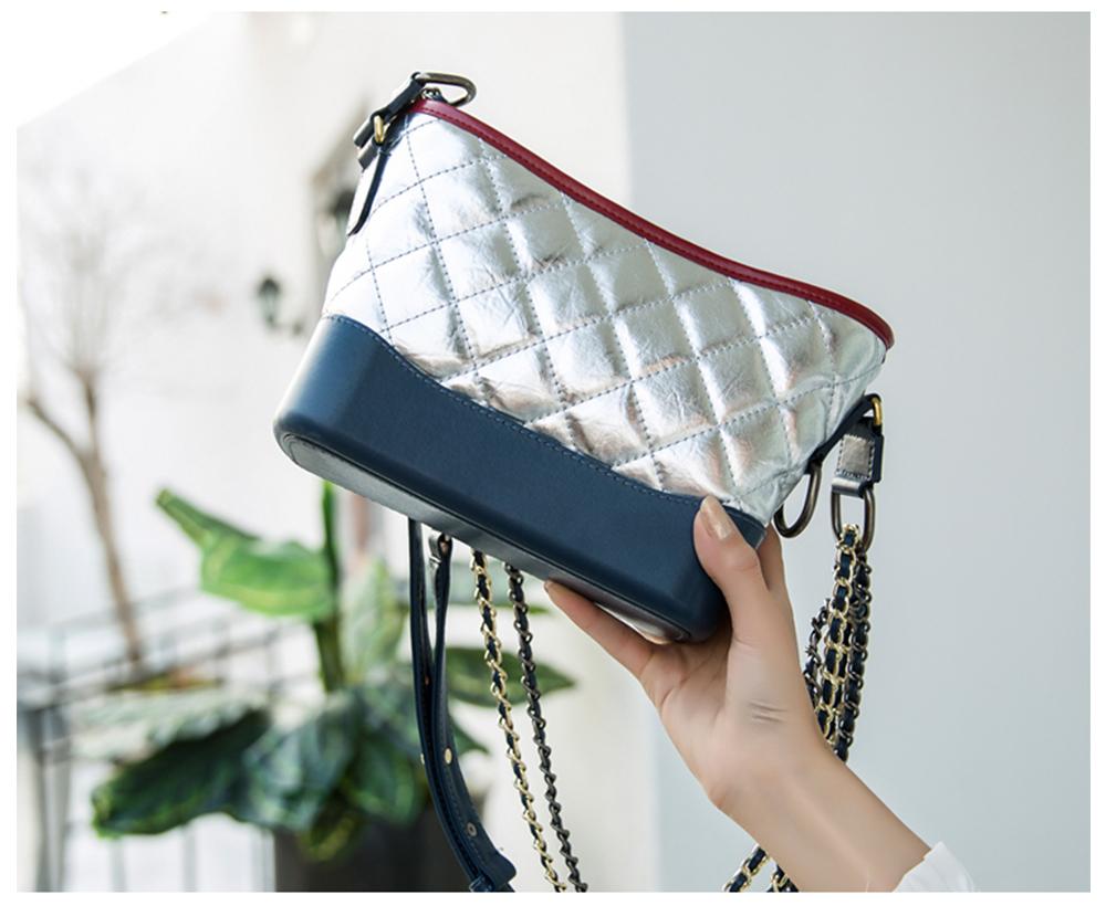 Luxurious Ling Plaid Leather Handbag Women's Party Shoulder Bag, Premium Sleek Leather Crossbody Bag with Adjustable Metal Shoulder Strap 14