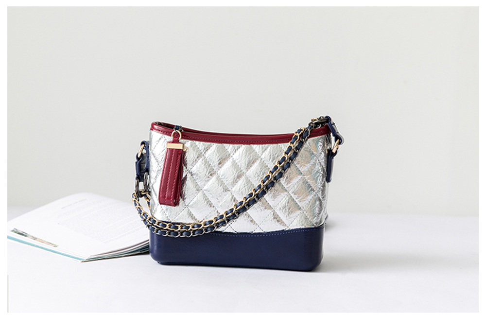 Luxurious Ling Plaid Leather Handbag Women's Party Shoulder Bag, Premium Sleek Leather Crossbody Bag with Adjustable Metal Shoulder Strap 15