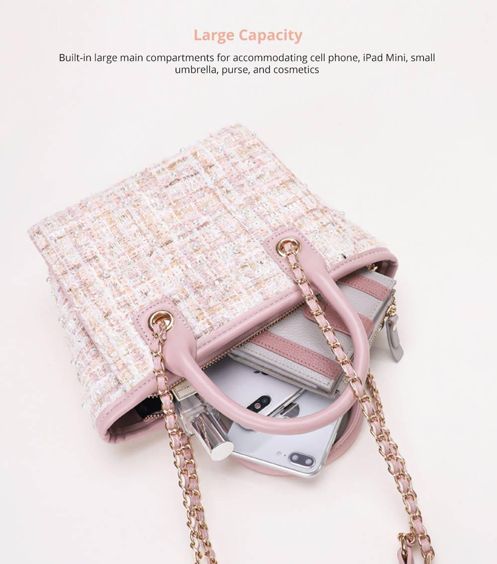 Elegant Girls Handbag with Pearl Decoration Sleek Weave Women's Bag with Metal Shoulder Strap Woolen Crossbody Bag for Women 7