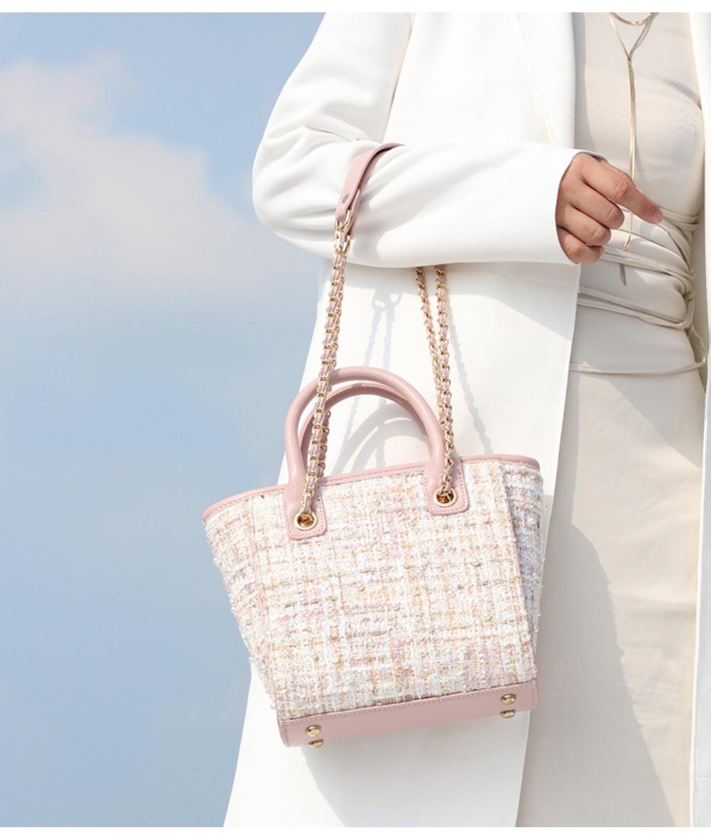 Elegant Girls Handbag with Pearl Decoration Sleek Weave Women's Bag with Metal Shoulder Strap Woolen Crossbody Bag for Women 11