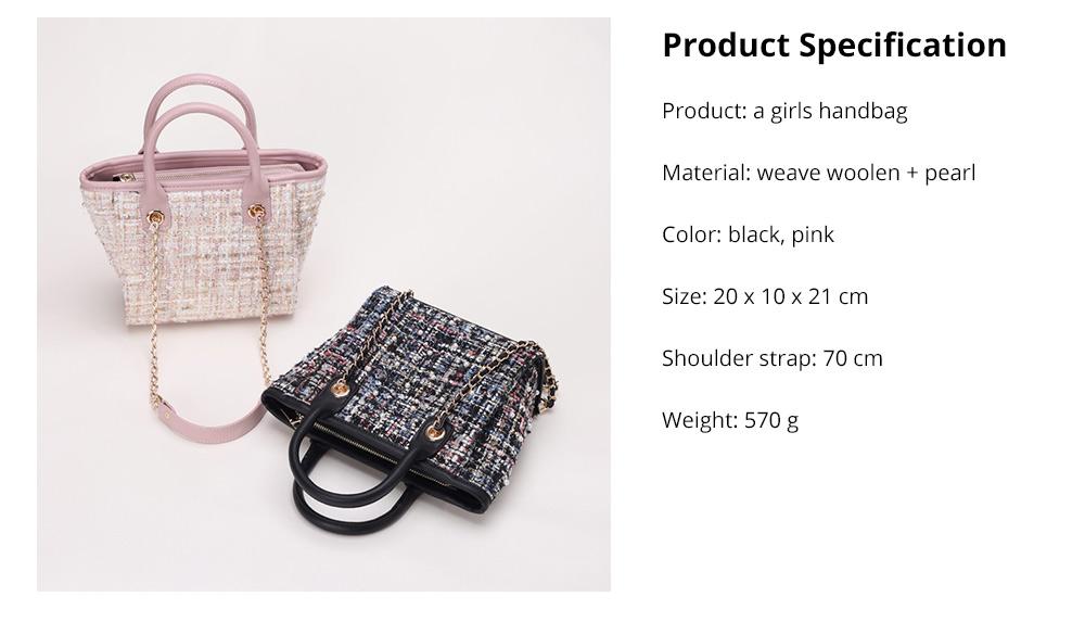 Elegant Girls Handbag with Pearl Decoration Sleek Weave Women's Bag with Metal Shoulder Strap Woolen Crossbody Bag for Women 13