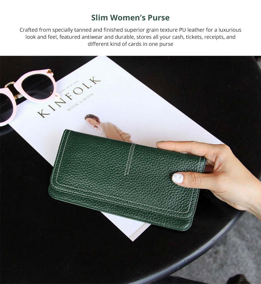 Women's Wallet with Multiple Compartments Card Slots Zipper Pocket, Lightweight Slim Sleek Women's Purse Grain Texture Soft Vintage Purse 5