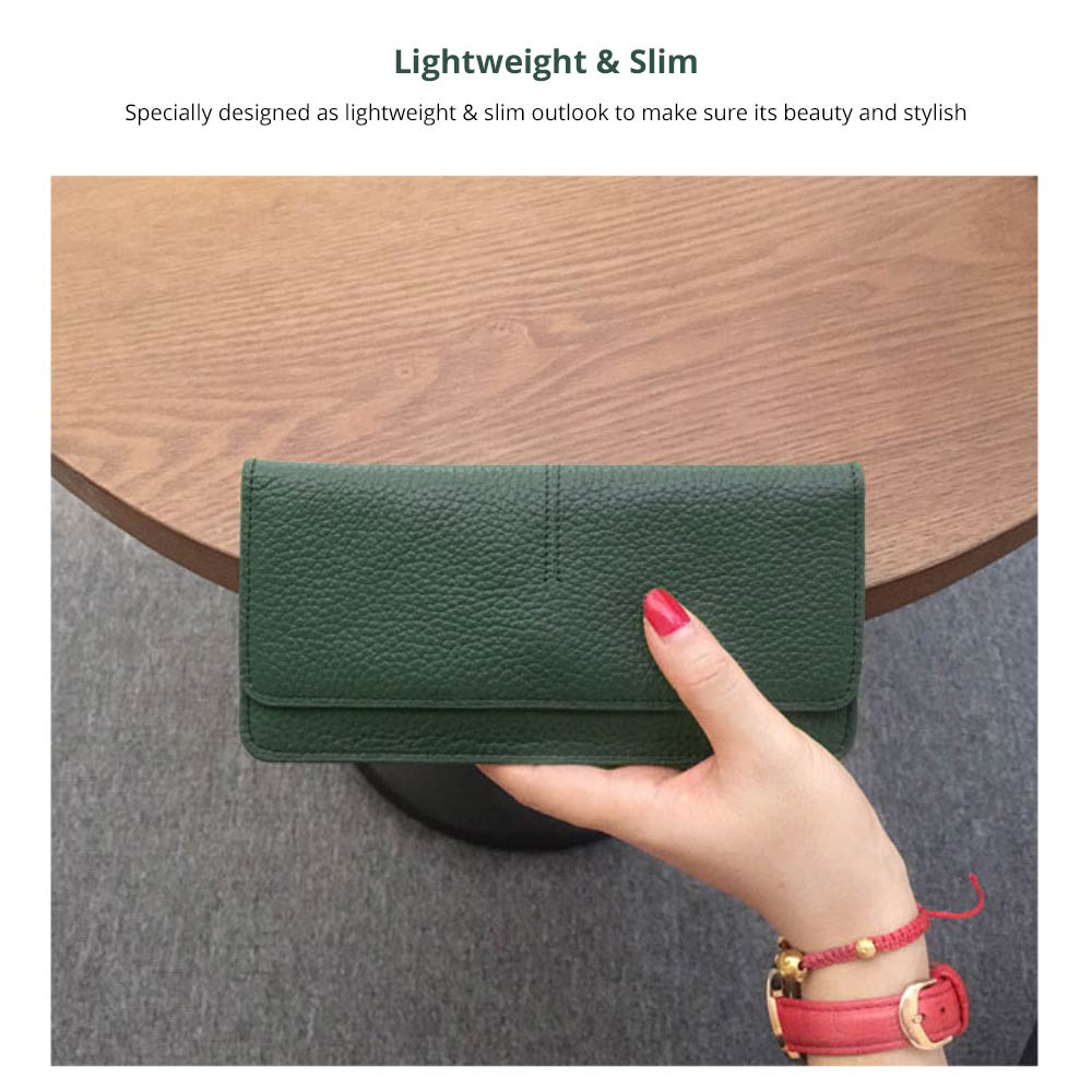 Women's Wallet with Multiple Compartments Card Slots Zipper Pocket, Lightweight Slim Sleek Women's Purse Grain Texture Soft Vintage Purse 8