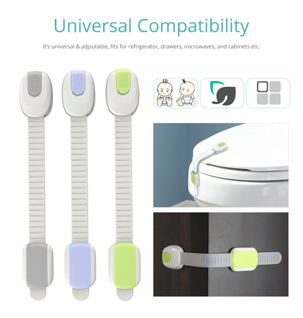 Universal Adjustable Children Proof Latch with 3M Double-sided Adhesive Compatible with Cabinets Drawers Refrigerator Children Proofing Lock, 5 Pack Baby Safety Accessories 10