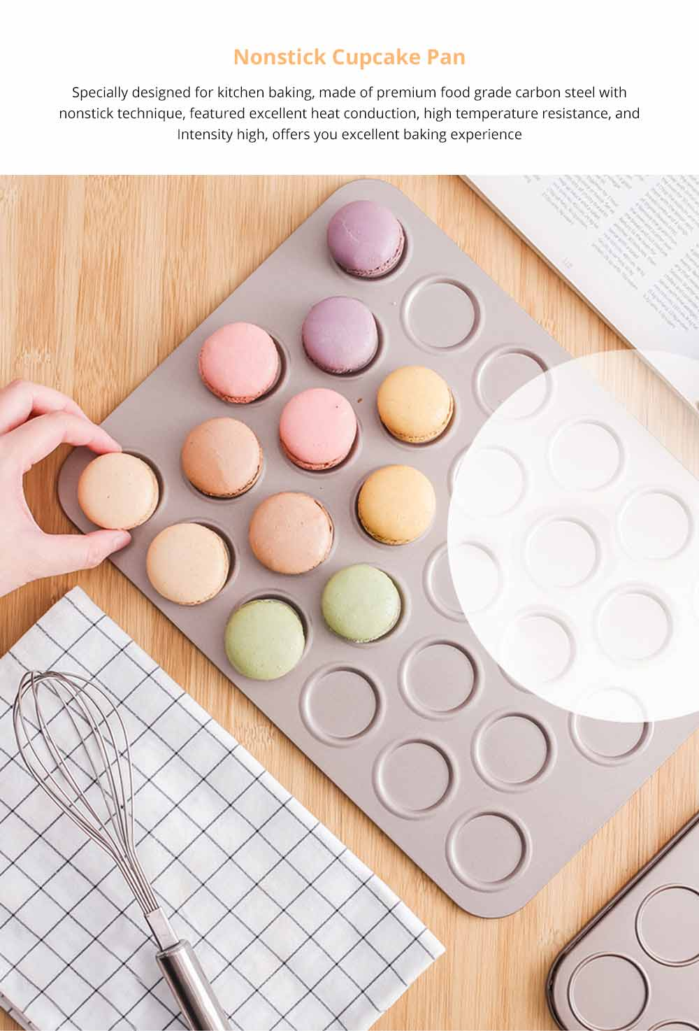 Universal Food Grade Nonstick Bakeware for Cookie Macarons, Carbon Steel Quick Release Coating Cupcake, Puff and Muffin Pan 5