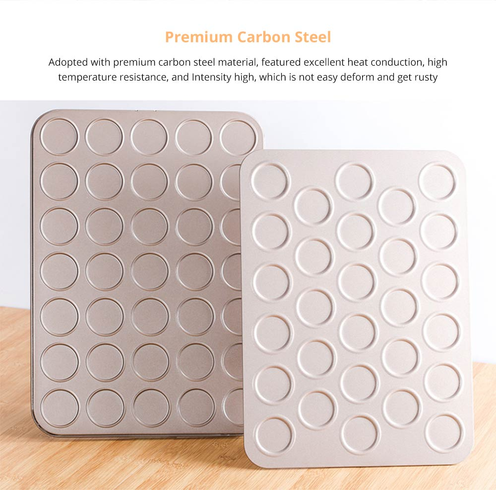 Universal Food Grade Nonstick Bakeware for Cookie Macarons, Carbon Steel Quick Release Coating Cupcake, Puff and Muffin Pan 6