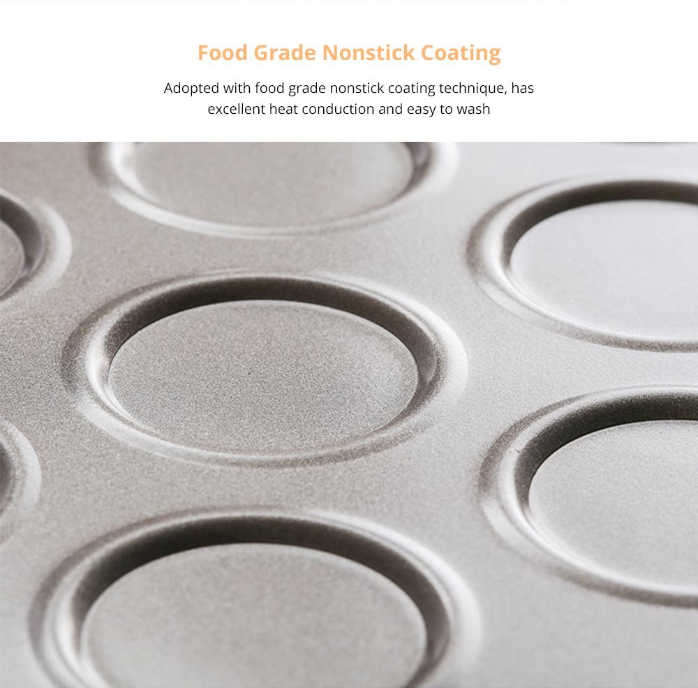 Universal Food Grade Nonstick Bakeware for Cookie Macarons, Carbon Steel Quick Release Coating Cupcake, Puff and Muffin Pan 7