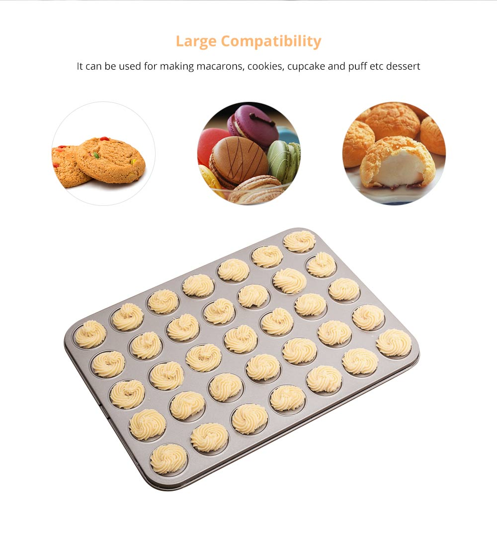 Universal Food Grade Nonstick Bakeware for Cookie Macarons, Carbon Steel Quick Release Coating Cupcake, Puff and Muffin Pan 8