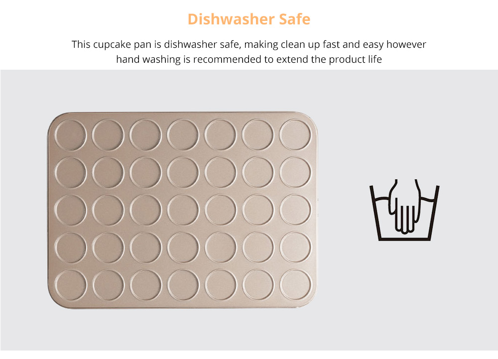 Universal Food Grade Nonstick Bakeware for Cookie Macarons, Carbon Steel Quick Release Coating Cupcake, Puff and Muffin Pan 9