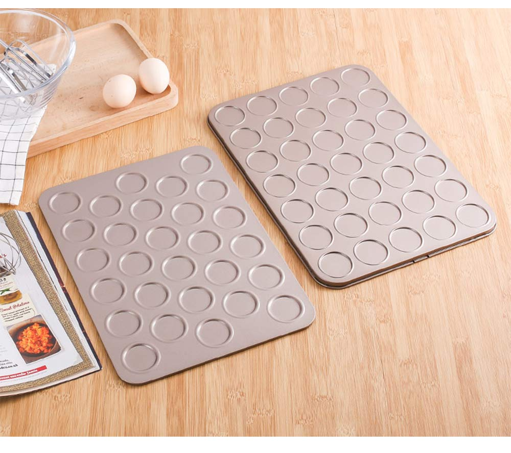 Universal Food Grade Nonstick Bakeware for Cookie Macarons, Carbon Steel Quick Release Coating Cupcake, Puff and Muffin Pan 11
