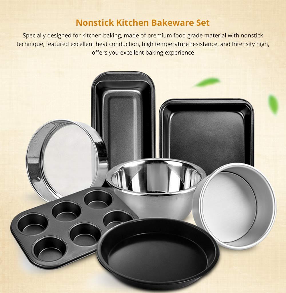 Premium Nonstick Bakeware Set 7 Pieces, Food Grade Dishwasher Safe Carbon Steel Kitchen Baking Pans Household Essential 6