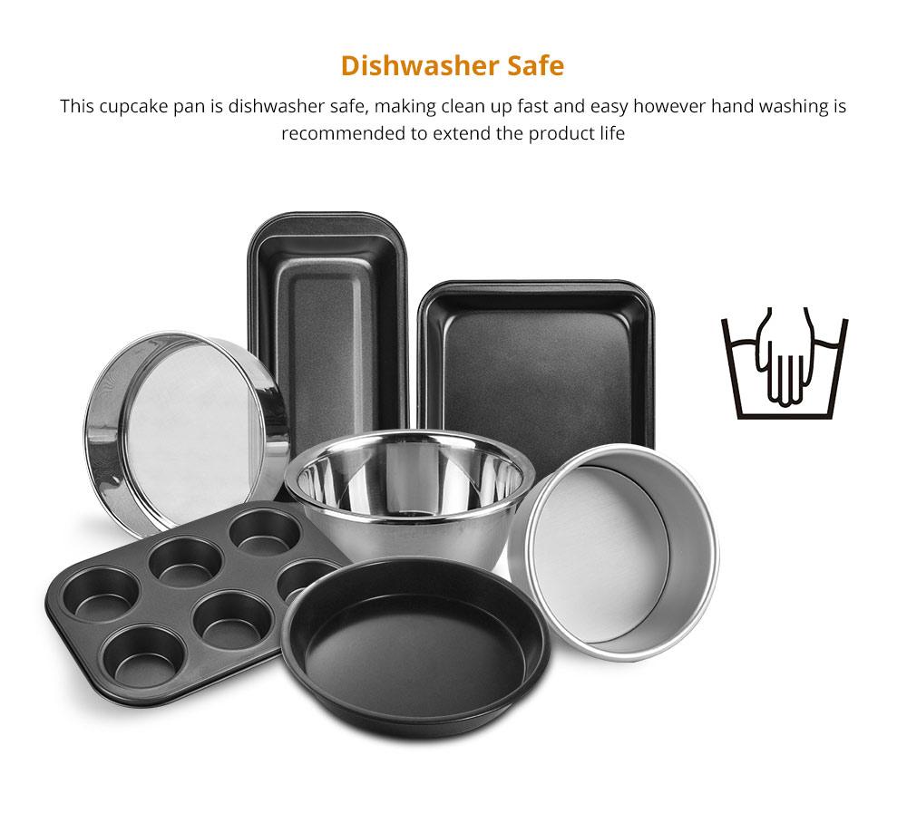 Premium Nonstick Bakeware Set 7 Pieces, Food Grade Dishwasher Safe Carbon Steel Kitchen Baking Pans Household Essential 9
