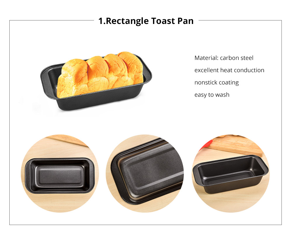Premium Nonstick Bakeware Set 7 Pieces, Food Grade Dishwasher Safe Carbon Steel Kitchen Baking Pans Household Essential 11