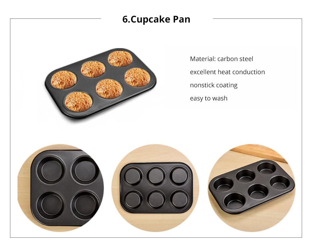 Premium Nonstick Bakeware Set 7 Pieces, Food Grade Dishwasher Safe Carbon Steel Kitchen Baking Pans Household Essential 16