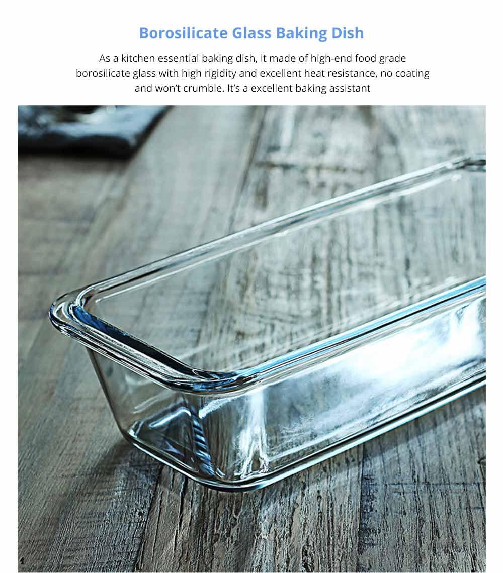 Nonstick Bakeware Glass Toast Pan, Kitchen Essential Premium Food Grade Borosilicate Glass Baking Dish for Toast Cake Baked Rice 5