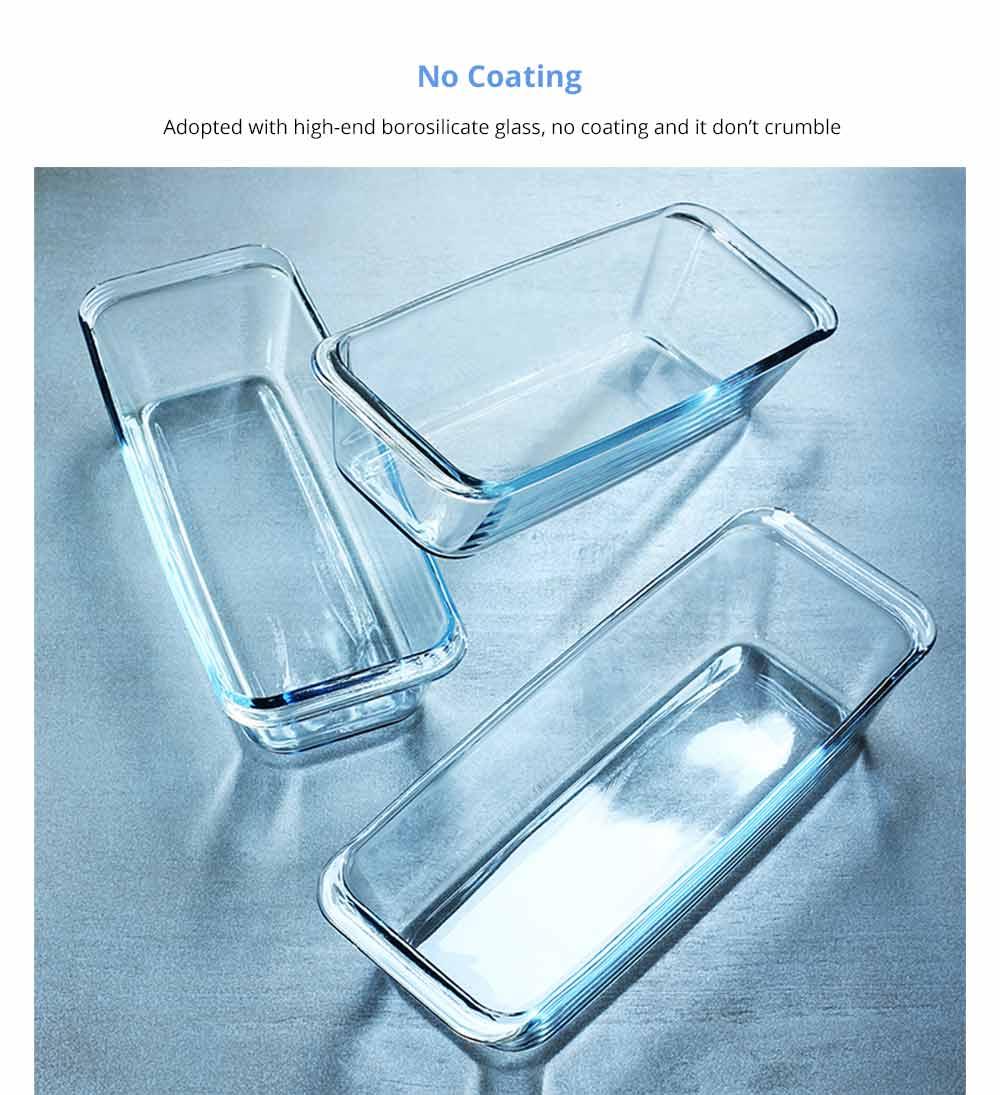 Nonstick Bakeware Glass Toast Pan, Kitchen Essential Premium Food Grade Borosilicate Glass Baking Dish for Toast Cake Baked Rice 8