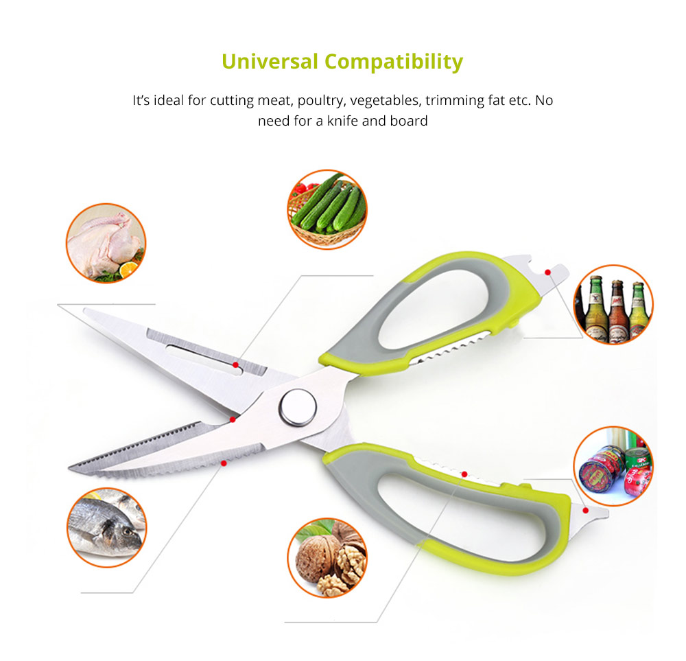 Ultra Sharp Meat Scissors for Kitchen Poultry, Meat, Fish, Herbs, Vegetables, Multifunctional Detachable Stainless Steel Kitchen Shears with Peeler Bottler Opener 7