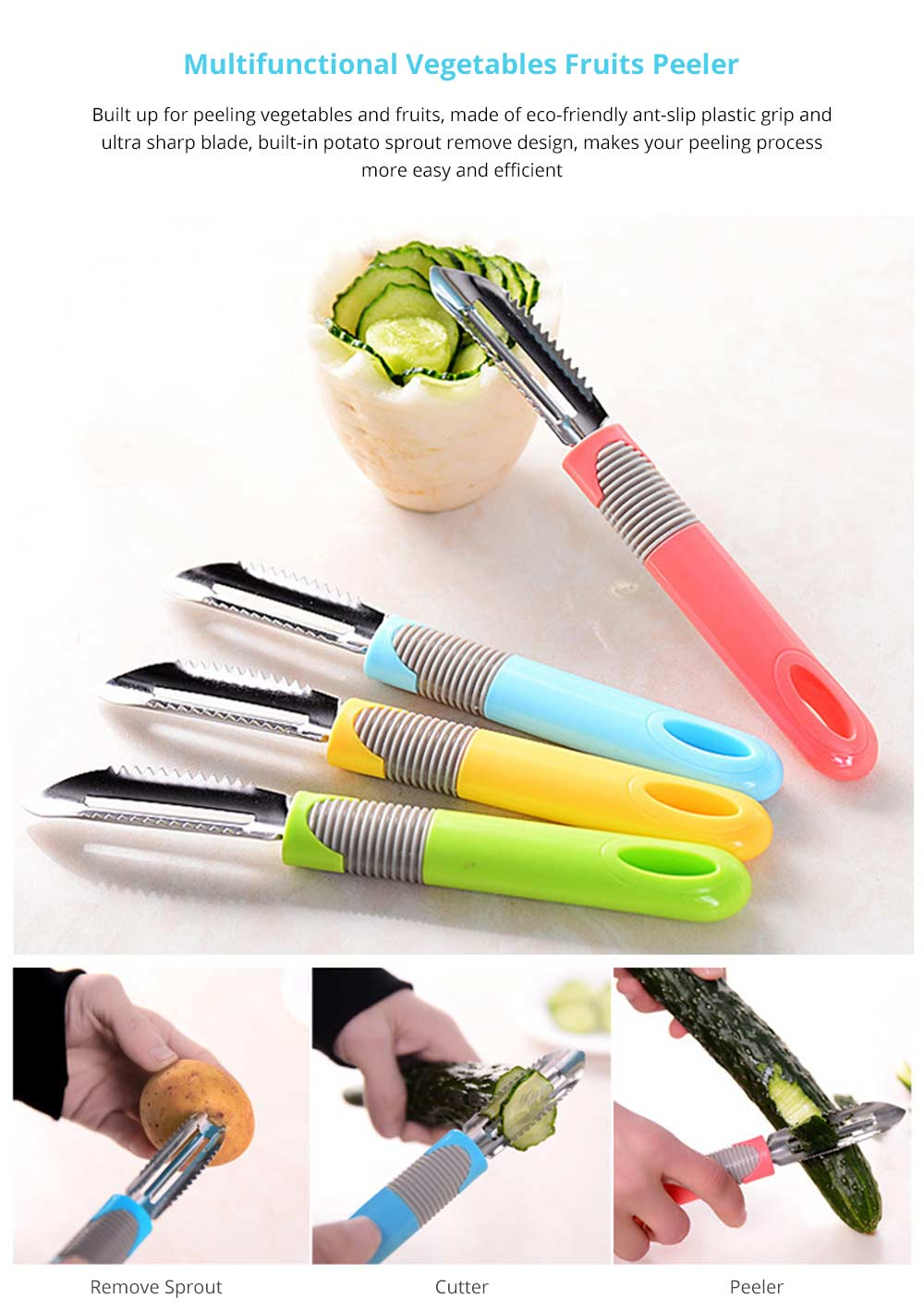 Universal Vegetables Fruits Peeler with Stainless Steel Ultra Blade Comfortable Anti-slip Grip Multifunctional Cutter Removing Potato Sprout Kitchen Gadget 6
