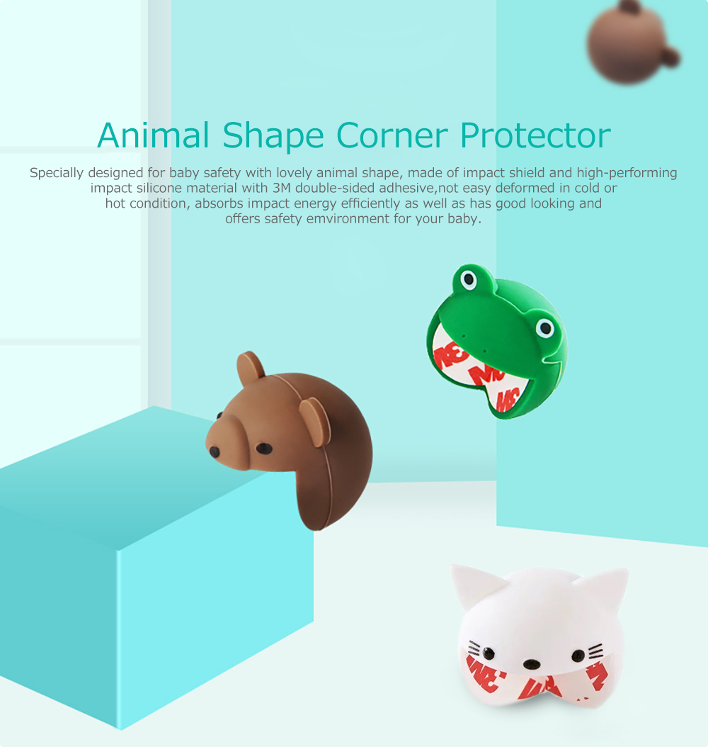 Animal Shape Corner Protector with 3M Double-sided Adhesive for Furniture Against Sharp Corners, 2 Pack Flexible Safe Edge & Corner Cushion 6