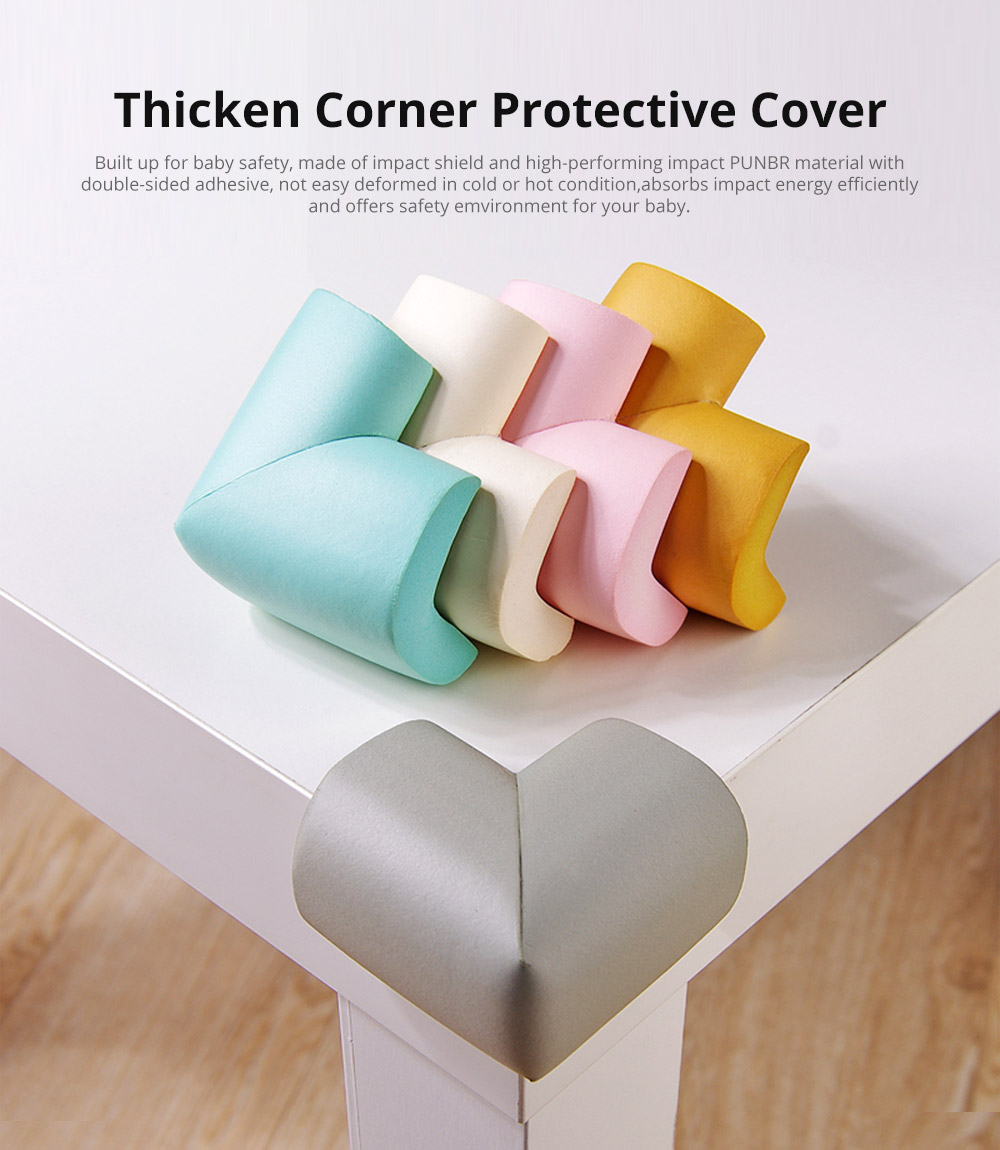 Child Safety Furniture Bumper with Double-sided Adhesive for Furniture Against Sharp Corners, 4 Pack Formaldehyde Free Flexible Baby Proofing Corner Guards & Edge Protectors 6