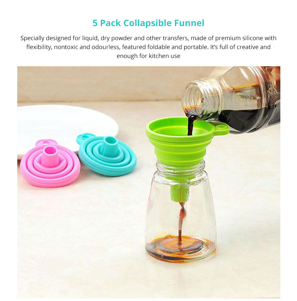 Hanging Collapsible Funnel Kitchen Gadget, 5 Pack Creative Food Grade Portable Silicone Flexible Foldable Funnel for Liquid Transfer 6