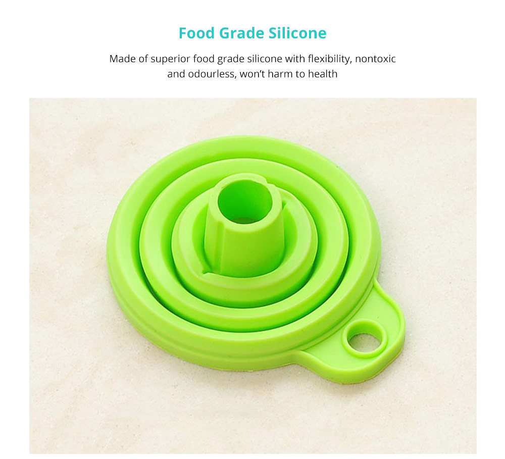 Hanging Collapsible Funnel Kitchen Gadget, 5 Pack Creative Food Grade Portable Silicone Flexible Foldable Funnel for Liquid Transfer 7