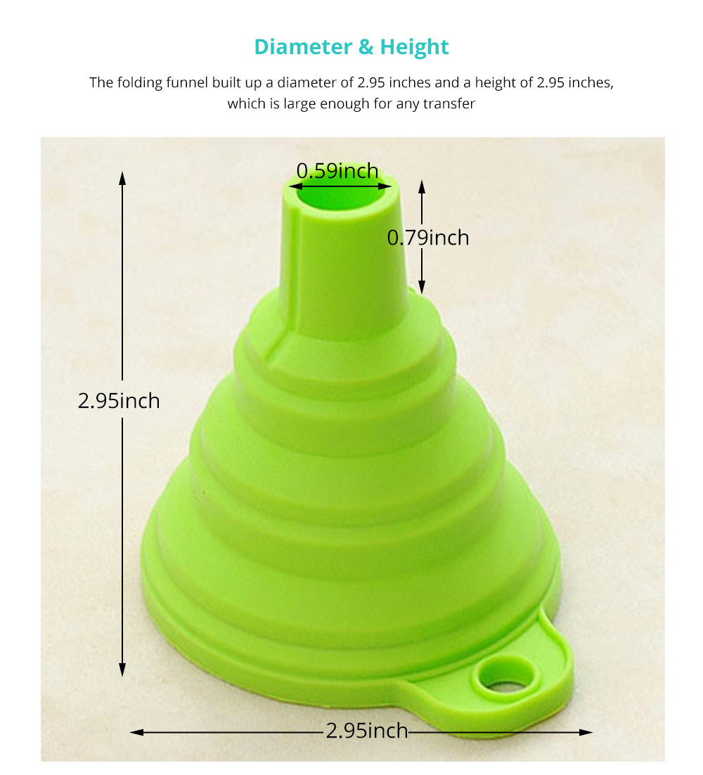 Hanging Collapsible Funnel Kitchen Gadget, 5 Pack Creative Food Grade Portable Silicone Flexible Foldable Funnel for Liquid Transfer 8