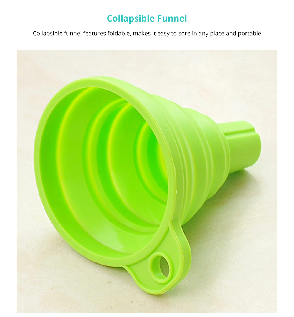 Hanging Collapsible Funnel Kitchen Gadget, 5 Pack Creative Food Grade Portable Silicone Flexible Foldable Funnel for Liquid Transfer 9