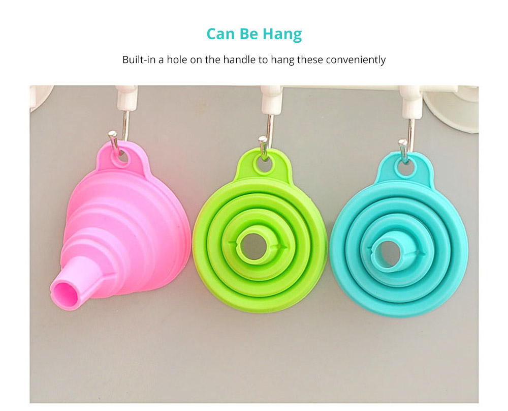 Hanging Collapsible Funnel Kitchen Gadget, 5 Pack Creative Food Grade Portable Silicone Flexible Foldable Funnel for Liquid Transfer 10