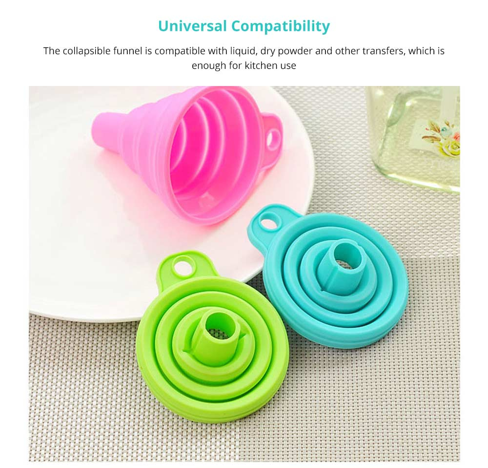 Hanging Collapsible Funnel Kitchen Gadget, 5 Pack Creative Food Grade Portable Silicone Flexible Foldable Funnel for Liquid Transfer 11