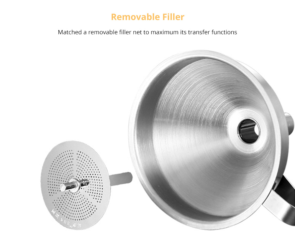 Stainless Steel Funnel with Filter Net, Kitchen Gadget Food Grade Liquid Transfer Hanging Funnel with Removable Strainer, Dishwasher Safe 9