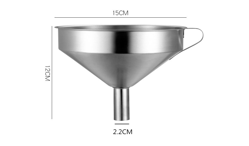 Stainless Steel Funnel with Filter Net, Kitchen Gadget Food Grade Liquid Transfer Hanging Funnel with Removable Strainer, Dishwasher Safe 14