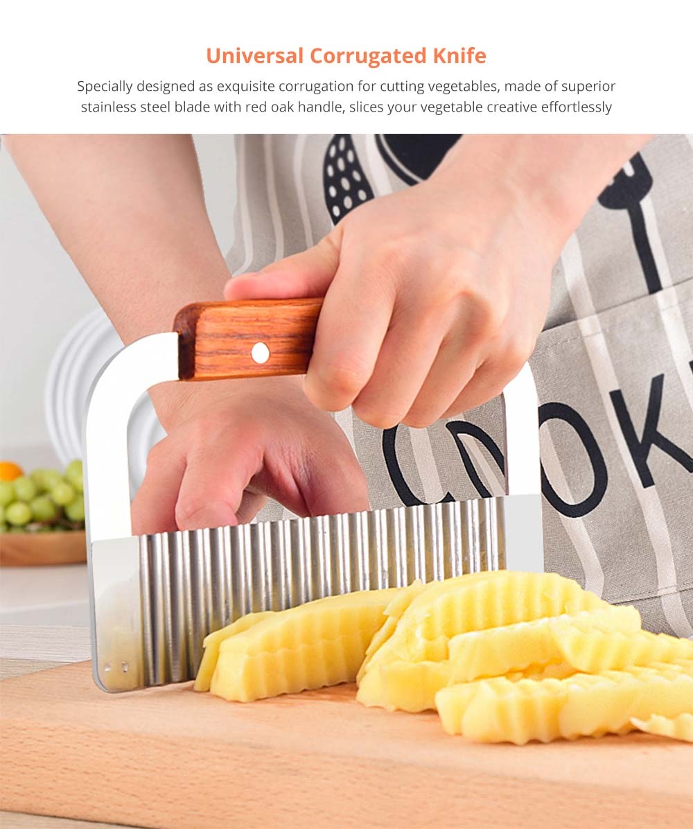 Universal Corrugated Knife for Vegetable Carrots Potato Cucumber, Kitchen Gadget Stainless Steel Wavy Cutter 5