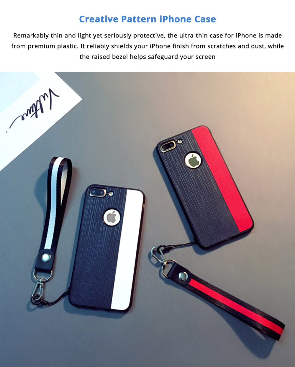 Stylish Ultra-thin Stripe Canvas Phone Case, Creative Durable Slim Phone Cover with Hand Strap Compatible for iPhone X, iPhone 8/Plus, iPhone 7/Plus, iPhone 6/6s/6 Plus/6S Plus 6