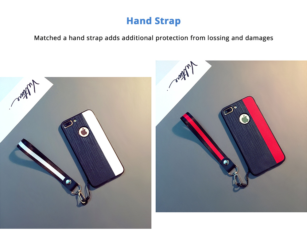 Stylish Ultra-thin Stripe Canvas Phone Case, Creative Durable Slim Phone Cover with Hand Strap Compatible for iPhone X, iPhone 8/Plus, iPhone 7/Plus, iPhone 6/6s/6 Plus/6S Plus 7