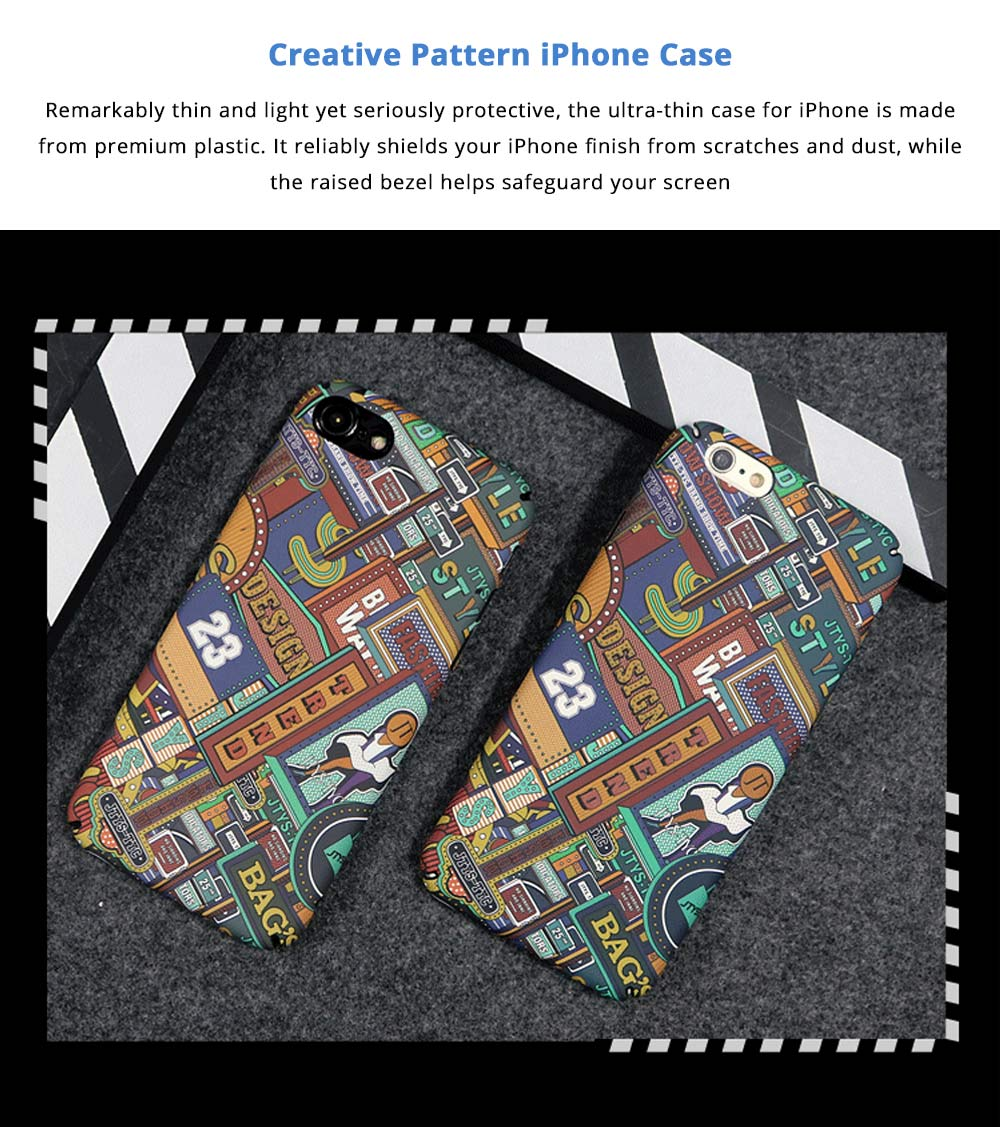 Fashionable Pattern Hard Shell Ultra-thin Phone PC Case, Creative Durable Slim Phone Cover Compatible for iPhone X, iPhone 8/Plus, iPhone 7/Plus, iPhone 6/6s/6 Plus/6S Plus 5