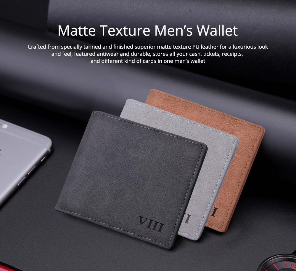 Men's Wallet - Matt Texture Soft Vintage, Lightweight Slim Stylish Wallets for Men with Multiple Compartments Card Slots 6