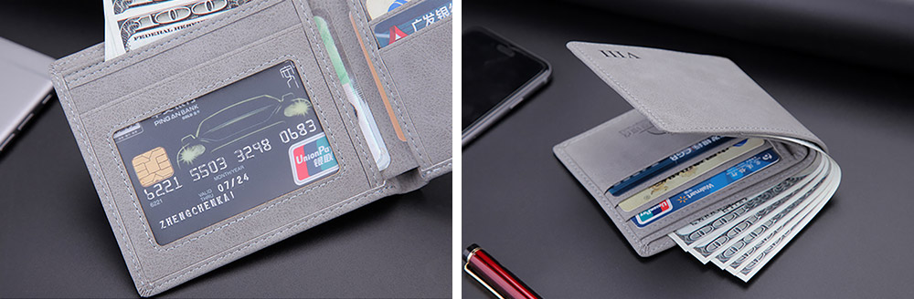 Men's Wallet - Matt Texture Soft Vintage, Lightweight Slim Stylish Wallets for Men with Multiple Compartments Card Slots 10
