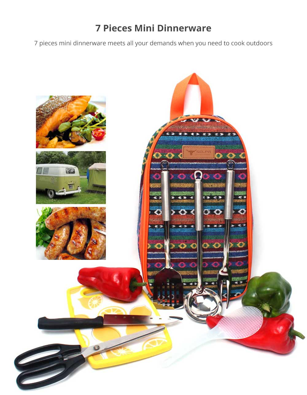 Bohemia Style Kitchenware Storage Handbag for Hiking Picnic Camping, Compatible with 7 Pieces Outdoors Portable Mini Picnic Dinnerware 7