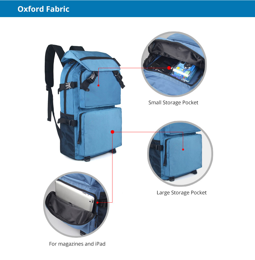 Large Capacity Backpack with Multiple Compartments for Hiking Camping Picnic Outdoors Travel, Water Resistance 600D Nylon Canvas Backpack 9