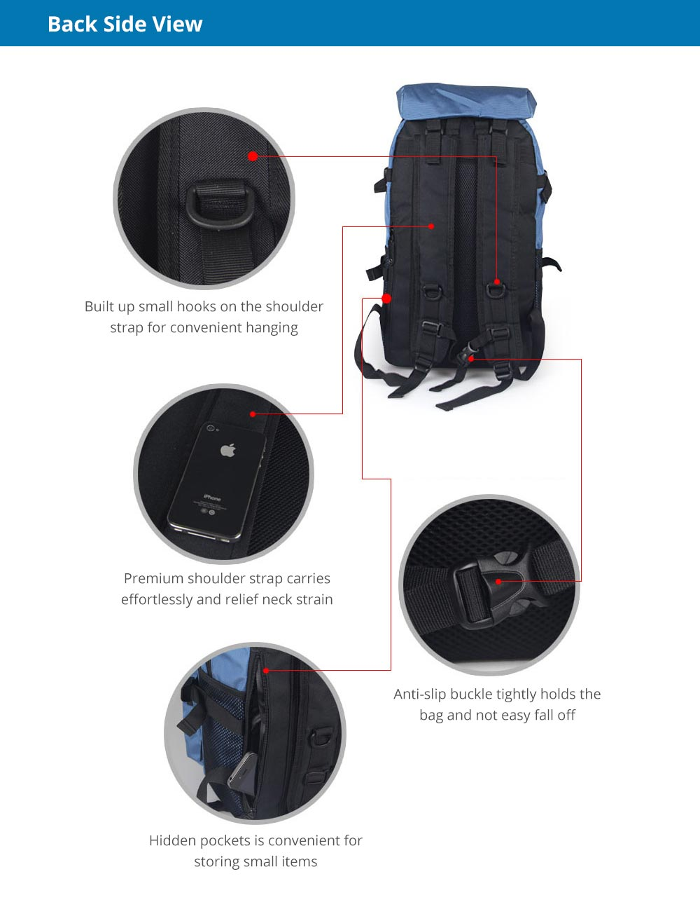 Large Capacity Backpack with Multiple Compartments for Hiking Camping Picnic Outdoors Travel, Water Resistance 600D Nylon Canvas Backpack 10