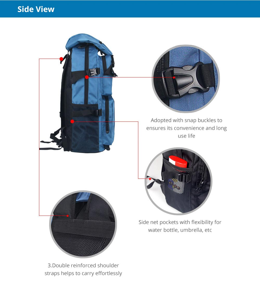 Large Capacity Backpack with Multiple Compartments for Hiking Camping Picnic Outdoors Travel, Water Resistance 600D Nylon Canvas Backpack 11